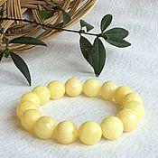Bead bracelet handmade. Livemaster - original item Bracelet from Baltic amber, color is white. 13.9. Handmade.