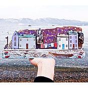 """Для дома и интерьера ручной работы. Ярмарка Мастеров - ручная работа Морская композиция """"Зима на побережье"""". Handmade."""
