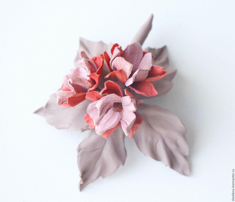Брошь из кожи Розовые цветы, Броши, Самара, Фото №1