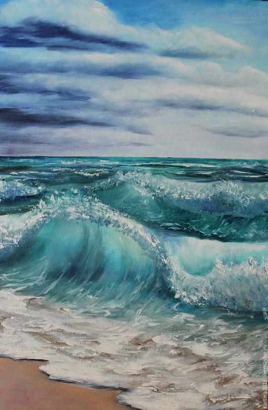 Пейзаж ручной работы. Ярмарка Мастеров - ручная работа. Купить Море волнуется. Handmade. Тёмно-бирюзовый, пейзаж морской