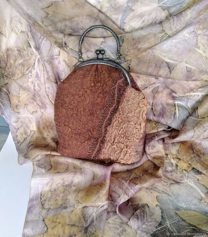 сумка женская валяная Молочный шоколад, Сумка с фермуаром, Орел,  Фото №1