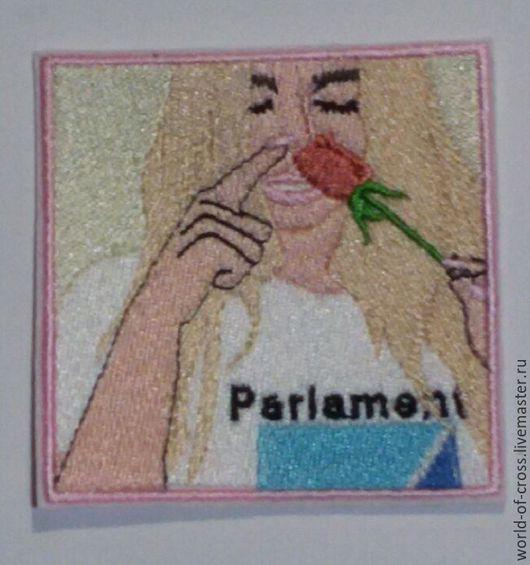 """Вышивка ручной работы. Ярмарка Мастеров - ручная работа. Купить Нашивка""""Девушка с розой"""". Handmade. Комбинированный, нашивки, нашивка вышитая"""