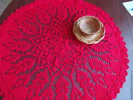 Текстиль, ковры ручной работы. Ярмарка Мастеров - ручная работа. Купить Салфетка красная большая. Handmade. Ярко-красный, хлопок
