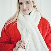 Аксессуары handmade. Livemaster - original item Real white mink fur scarf. Handmade.