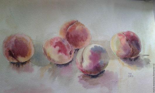 """Натюрморт ручной работы. Ярмарка Мастеров - ручная работа. Купить """"Персики"""", акварель, А3. Handmade. Бежевый, фрукты, натюрморт, рыжий"""