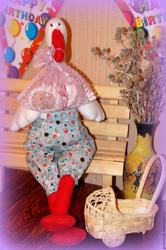 Игрушки животные, ручной работы. Ярмарка Мастеров - ручная работа. Купить Аист Гриня. Handmade. Комбинированный, кукла в подарок, синтепон