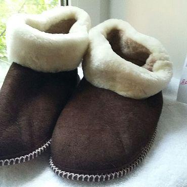 Footwear handmade. Livemaster - original item Furry slippers of fur 49 sizes. Handmade.