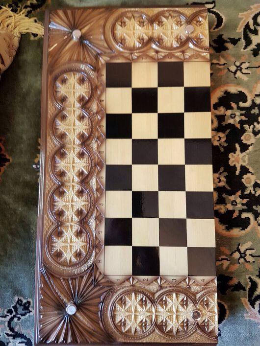 Настольные игры ручной работы. Ярмарка Мастеров - ручная работа. Купить Шахматы нарды шашки деревянные резные 3 в 1. Handmade.