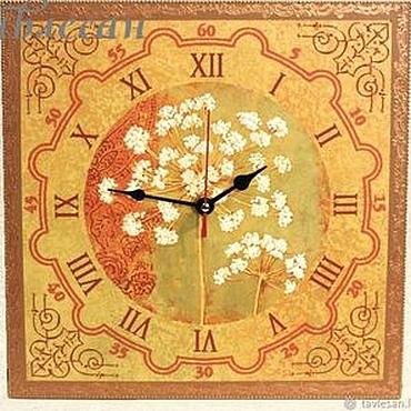 """Для дома и интерьера ручной работы. Ярмарка Мастеров - ручная работа Часы настенные """"Весенние цветы"""" квадратные большие. Handmade."""