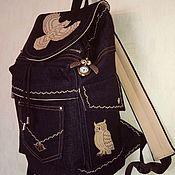Рюкзаки ручной работы. Ярмарка Мастеров - ручная работа Рюкзак джинсовый Сова. Handmade.