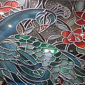 """Для дома и интерьера ручной работы. Ярмарка Мастеров - ручная работа Английский витраж """"Павлин"""" с кристаллами """"swarovski"""". Handmade."""