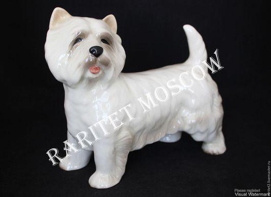 Винтажные предметы интерьера. Ярмарка Мастеров - ручная работа. Купить Собака большая статуэтка фарфор Англия 13. Handmade. Белый