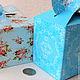 Упаковка ручной работы. Коробка. Голубой принт 8,5х8,5х10 Картон самосборная с рисунком. Вкусное творчество (vkusnohobby). Интернет-магазин Ярмарка Мастеров.