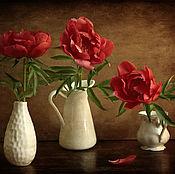 Картины и панно ручной работы. Ярмарка Мастеров - ручная работа Натюрморт Три пиона и четыре вазы. Handmade.