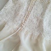 Robes handmade. Livemaster - original item Silk negligee with lace. Handmade.