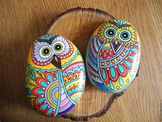 Интерьер, экстерьер, дача. Ярмарка Мастеров - ручная работа. Купить Разноцветные совушки для альпийской горки, роспись по камню, дудлинг. Handmade