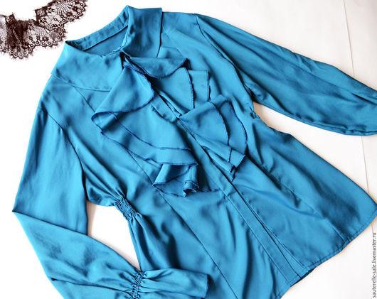 Блузки ручной работы. Ярмарка Мастеров - ручная работа. Купить Блузка женская. Handmade. Тёмно-бирюзовый, Плательная ткань