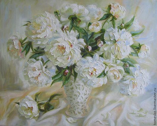 Картины цветов ручной работы. Ярмарка Мастеров - ручная работа. Купить Белые пионы. Handmade. Белый, цветы, холст на подрамнике