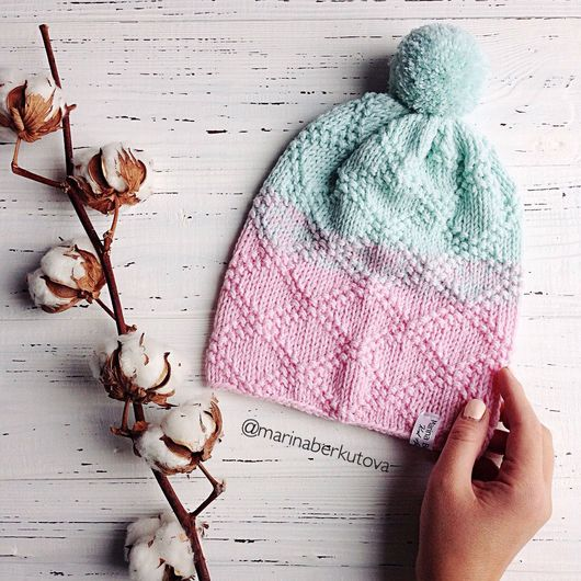 Шапки ручной работы. Ярмарка Мастеров - ручная работа. Купить Мятно розовая шапочка бини. Handmade. Мятный, нежно розовый