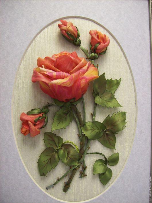 Картины цветов ручной работы. Ярмарка Мастеров - ручная работа. Купить Картина вышитая лентами на органзе Мраморная роза. Handmade.