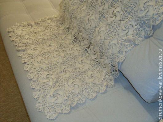 Текстиль, ковры ручной работы. Ярмарка Мастеров - ручная работа. Купить Морозные узоры плед. Handmade. Бежевый, салфетка ажурная