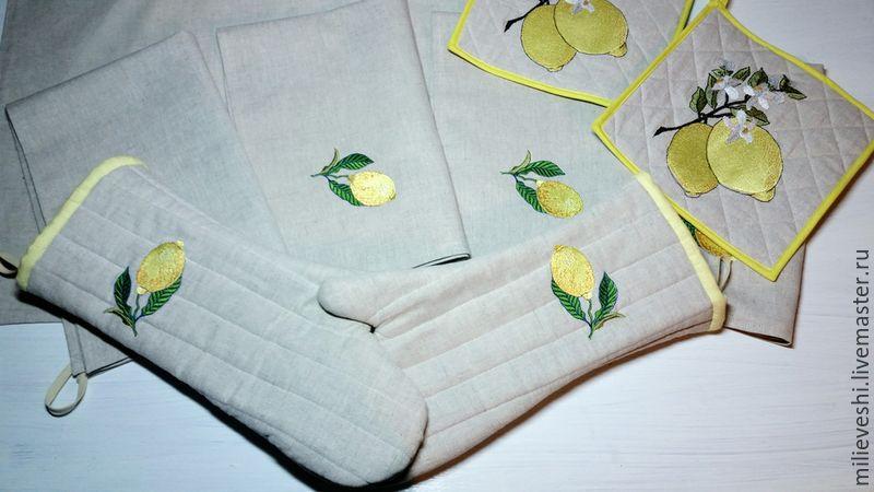 Gloves-oven mitts. Lemon, Potholders, Ivanovo,  Фото №1