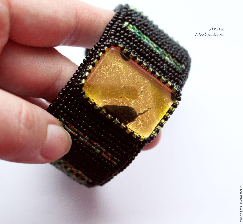"""Браслет на руку из японского бисера """"Муранское золото"""""""