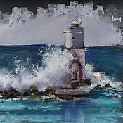 Картины и панно handmade. Livemaster - original item Pastel painting lighthouse #1 (gray turquoise wave seascape). Handmade.