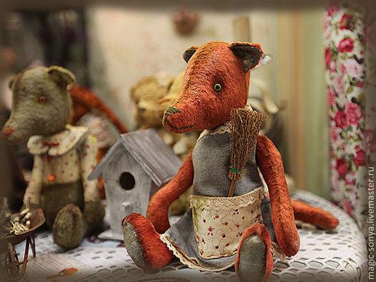 Мишки Тедди ручной работы. Ярмарка Мастеров - ручная работа. Купить Лисенок Вук и Волчок Дик.. Handmade. Рыжий, лис