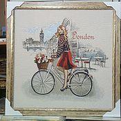 Картины и панно ручной работы. Ярмарка Мастеров - ручная работа Картина гобелен Леди  55х55 см в рамке. Handmade.