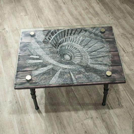 """Мебель ручной работы. Ярмарка Мастеров - ручная работа. Купить Журнальный столик  """"Спираль"""". Handmade. Чёрно-белый, деревянны стол"""