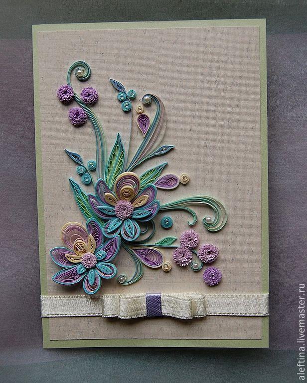 Открытка с цветами квиллинг