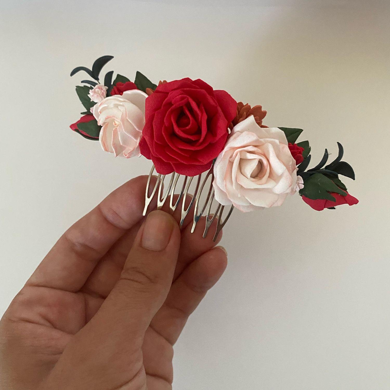 Красная веточка в причёску. Свадебный гребень. Красная заколка, Украшения для причесок, Самара,  Фото №1