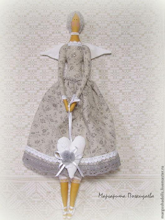 """Куклы Тильды ручной работы. Ярмарка Мастеров - ручная работа. Купить Тильда-ангел""""Николь"""". Handmade. Серый, сердце, лён"""