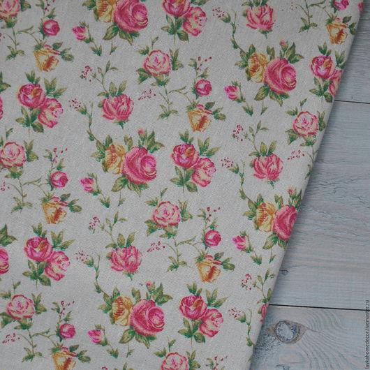 Лен натуральный небеленый Розы Прованса 50х50см, 3244