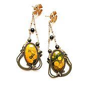 Украшения handmade. Livemaster - original item Earrings soutache yellow green long with a flower Amber honeycomb. Handmade.