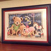 """Для дома и интерьера ручной работы. Ярмарка Мастеров - ручная работа Вышивка """"Спящие мишки"""". Handmade."""