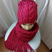 Аксессуары ручной работы. Ярмарка Мастеров - ручная работа Шапка+шарф вкусный бордовый. Handmade.
