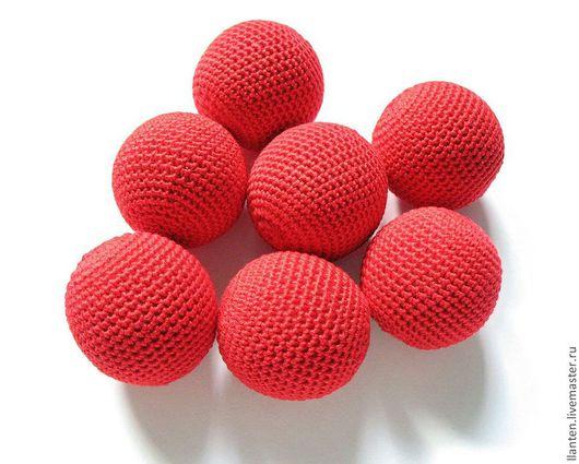 Для украшений ручной работы. Ярмарка Мастеров - ручная работа. Купить Набор из 7 бусин, диаметр 33 мм, цв. красный. Handmade.
