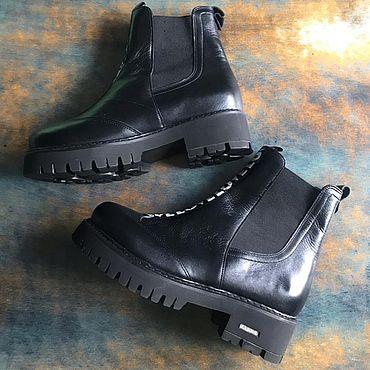 Обувь ручной работы. Ярмарка Мастеров - ручная работа Челси «черный полоска Love» черн подошва. Handmade.
