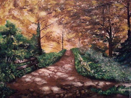 """Пейзаж ручной работы. Ярмарка Мастеров - ручная работа. Купить картина маслом """"Осень"""". Handmade. Желтый, картина, картина в подарок"""