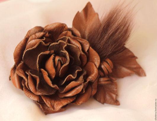 Броши ручной работы. Ярмарка Мастеров - ручная работа. Купить Брошь из кожи Роза (терракот) Осень-Зима. Цветы из кожи. Handmade.