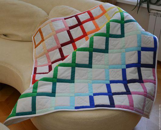 """Пледы и одеяла ручной работы. Ярмарка Мастеров - ручная работа. Купить Одеяло детское """"Радуга"""". Handmade. Комбинированный, одеяло лоскутное"""