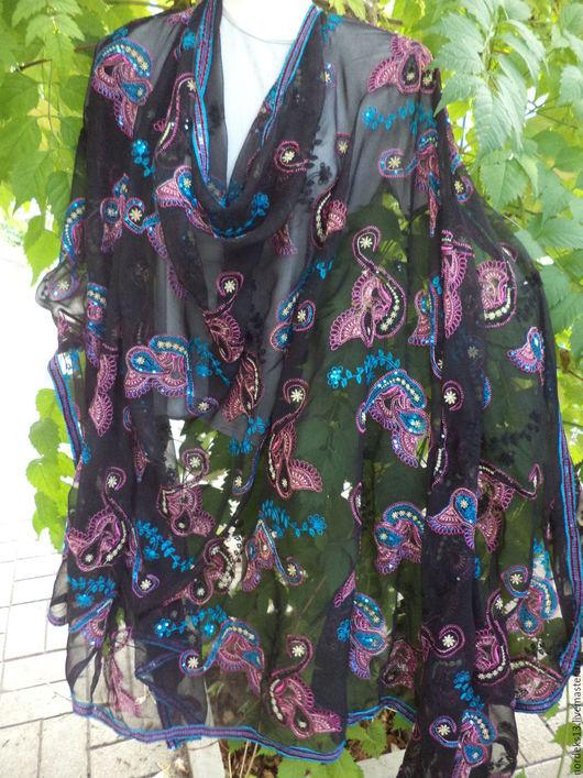 Винтажная одежда и аксессуары. Ярмарка Мастеров - ручная работа. Купить шаль из черного шифона с вышивкой Индия. Handmade. Комбинированный