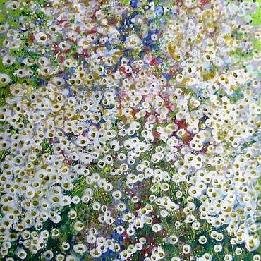 Картины и панно ручной работы. Ярмарка Мастеров - ручная работа Вид с цветочного холма на ромашковое поле  где-то, где я не был.. Handmade.