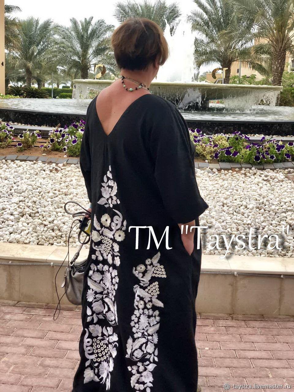 Black Embroidered Dress Linen Arabic Style Abaya Dress Bisht, Dresses, Chernovtsy,  Фото №1