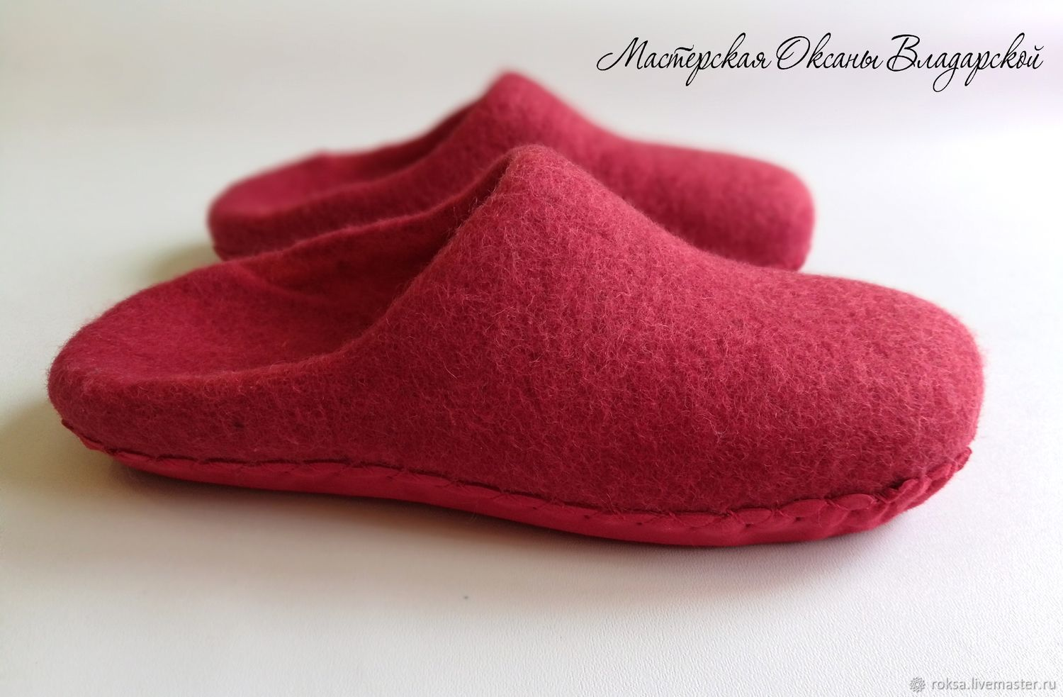Women's felted Slippers 'the Red shoes', Slippers, St. Petersburg,  Фото №1