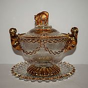 Винтаж handmade. Livemaster - original item Sugar bowl, candy bowl-pressed glass INWALD Bohemia 1920. Handmade.