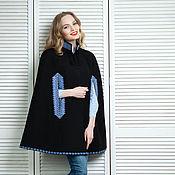 """Одежда ручной работы. Ярмарка Мастеров - ручная работа Накидка черная из шерсти с вышивкой """"Прима"""". Handmade."""