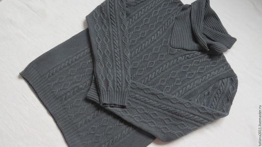 Для мужчин, ручной работы. Ярмарка Мастеров - ручная работа. Купить Мужской свитер с шалевым воротником. Handmade. Серый